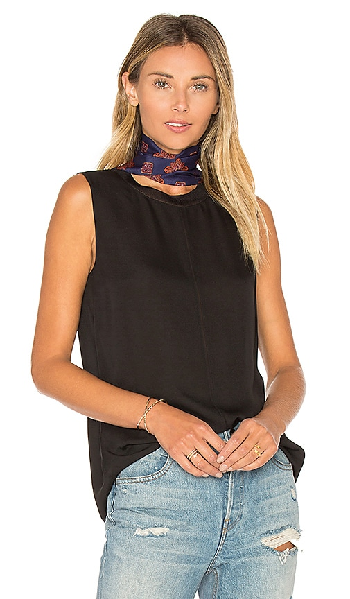 Vince Rib Trim Seamfront Tank in Black