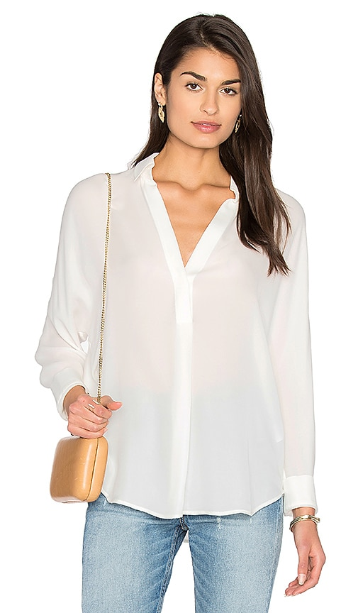 Vince Shirred Back Yoke Blouse in White