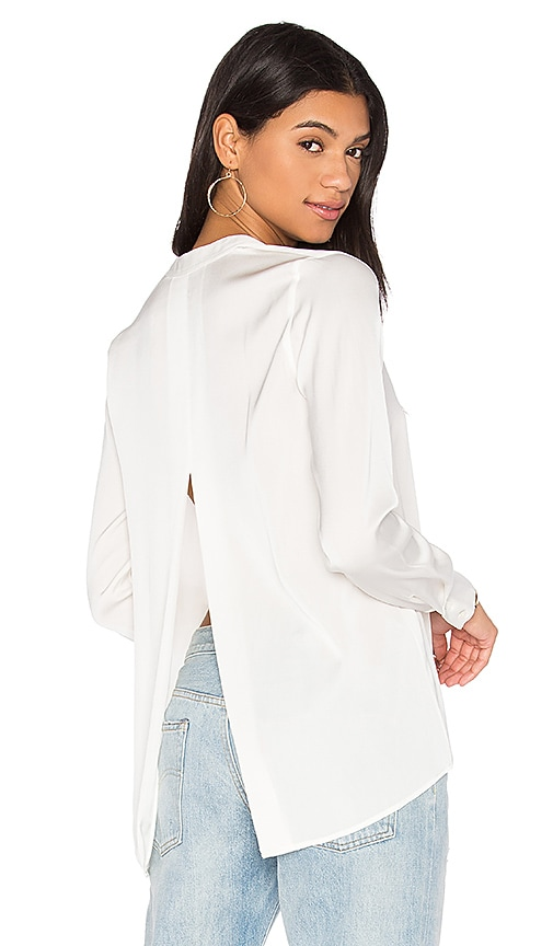 Vince Satin Slit Back Blouse in White