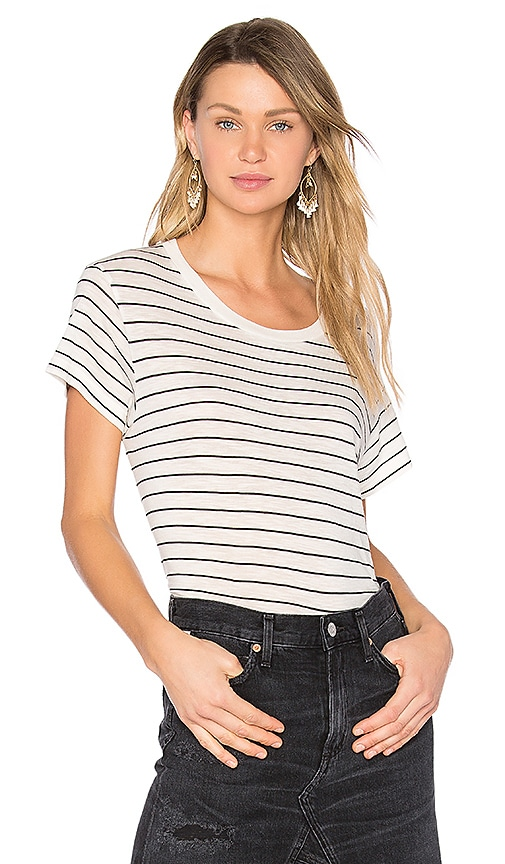 Vince Classic Stripe Tee in Black & White