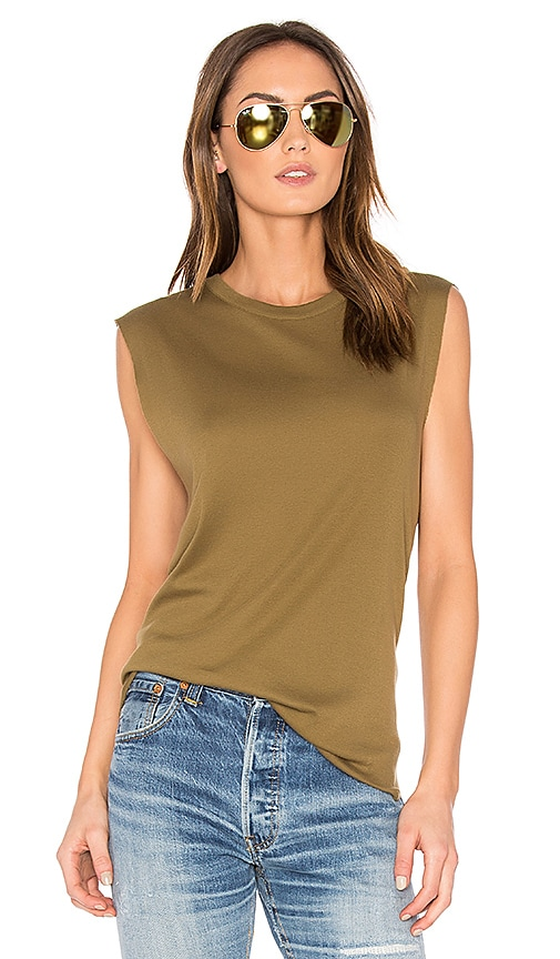Vince Shirttail Tank in Olive