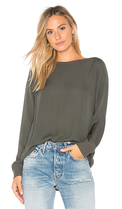 Vince Rib Trim Blouse in Green
