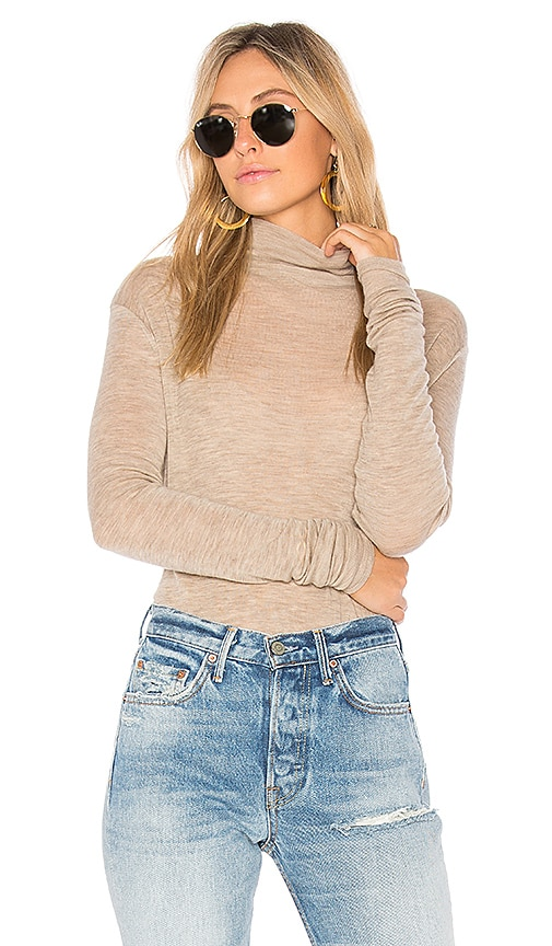 Vince Cowl Long Sleeve Tee in Beige