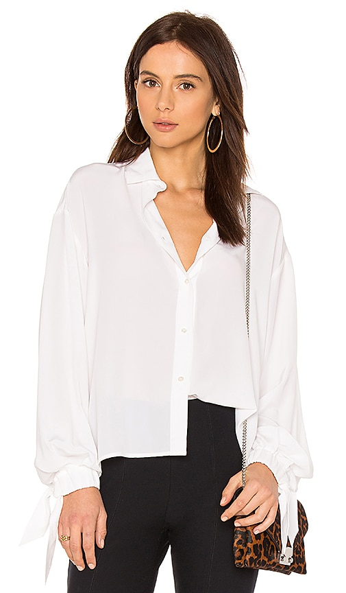 Vince Tie Sleeve Blouse in White