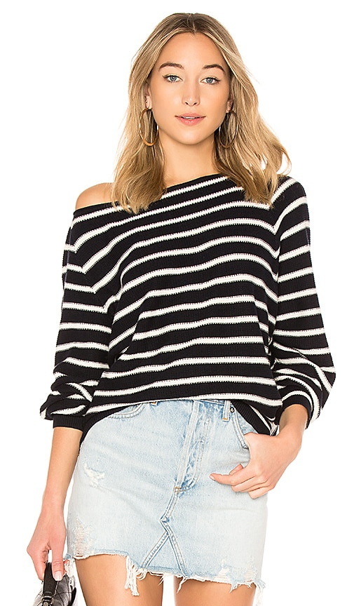 Vince Striped Waffle Raglan Top in Navy