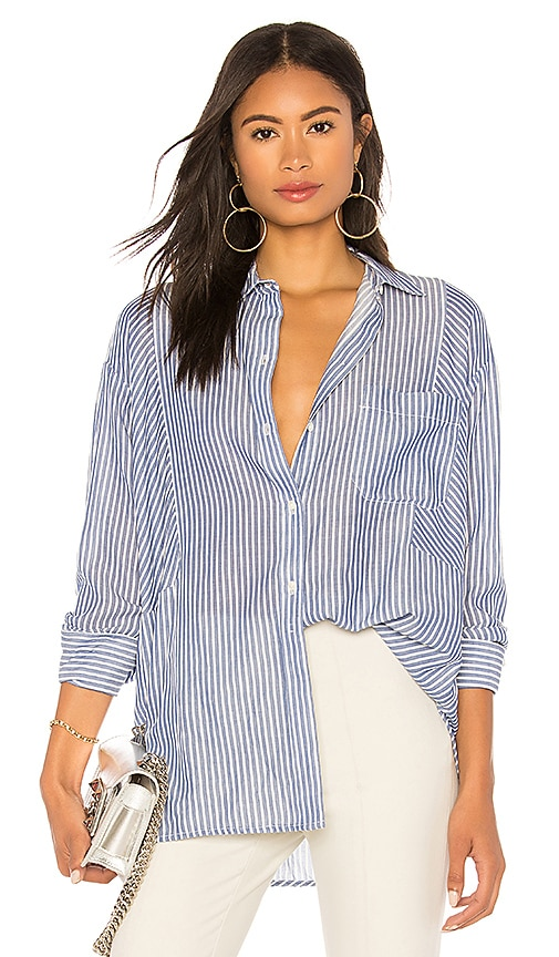 Vince Classic Stripe Tunic Top in Blue
