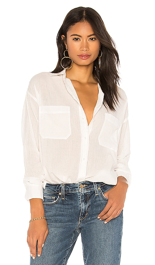 Vince Textured Double Pocket Blouse in White