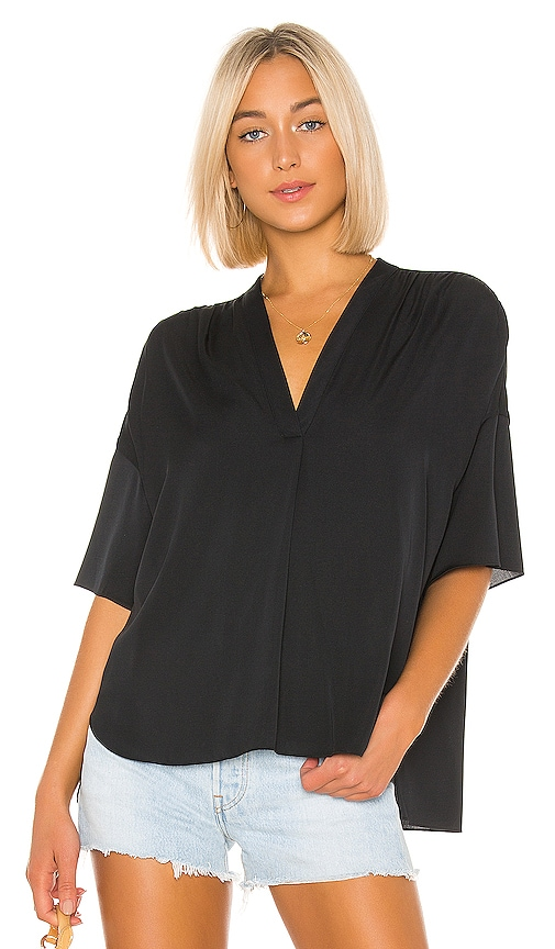 Shirred V Neck Blouse by Vince