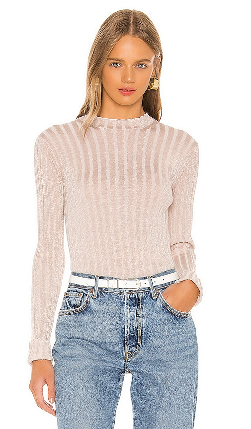 Ribbed Mock Neck Pullover