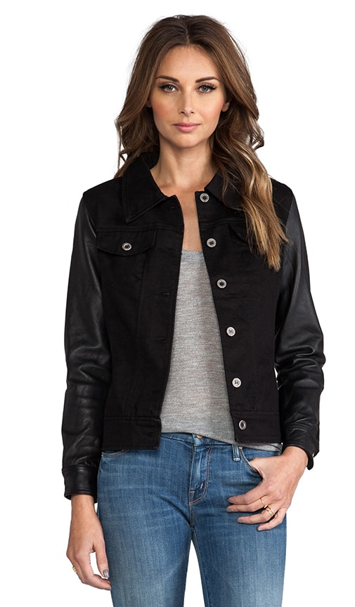 Anika Denim Leather Sleeve Jacket
