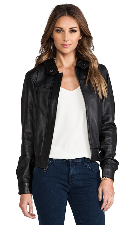 Autumn Leather Hooded Bomber Jacket
