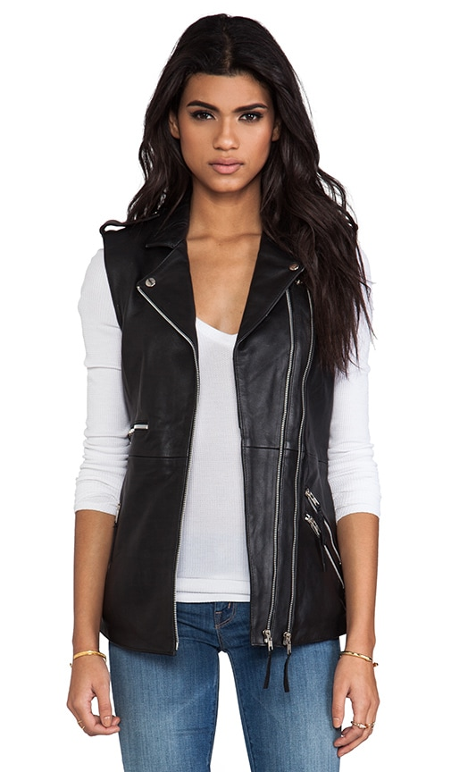 Oversized Leather Biked Vest