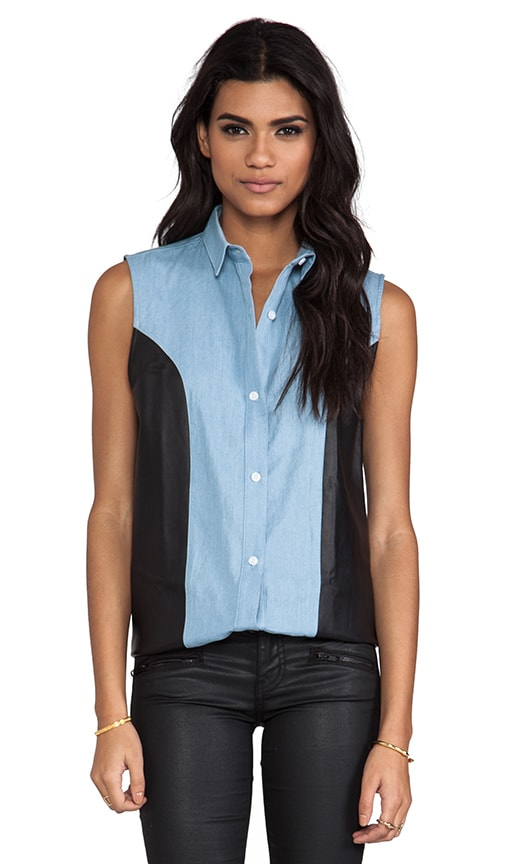 Chambray Leather Sleeveless Shirt