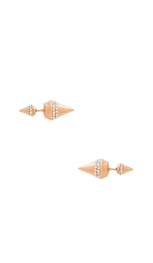 Vita Fede Mini Double Titan Crystal Earring in Rose Gold & Clear