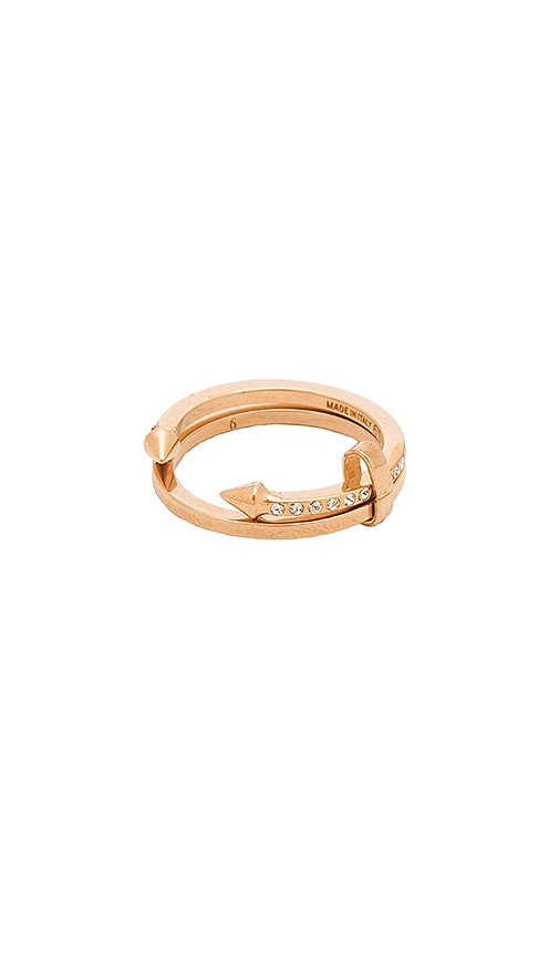 Vita Fede Super Ultra Mini Titan & Crystal Band Ring in Metallic Copper