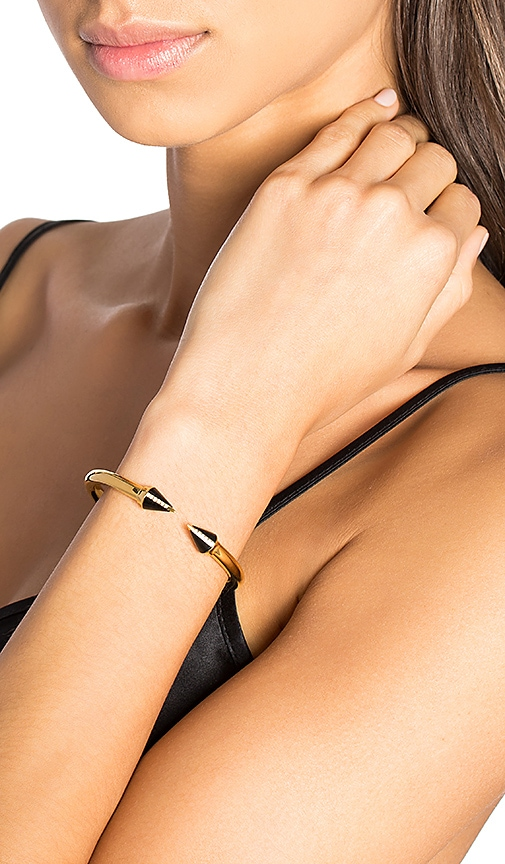 Vita Fede Mini An Stone Crystal Line Bracelet In Onyx Gold