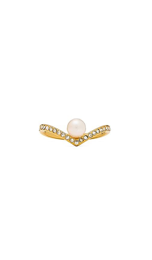 V Crystal & Pearl Ring