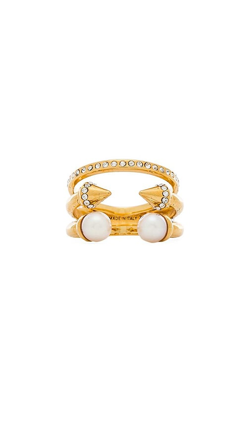 Vita Fede Triple Pearl Titan & Crystal Band Ring in Gold