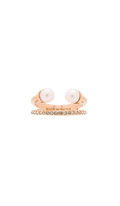 Ultra Mini Double Pearl Ring & Band Ring