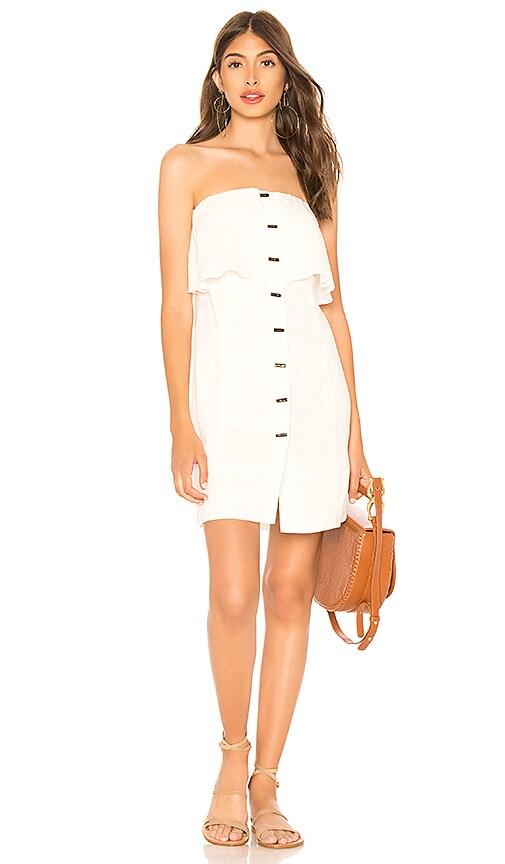 Vix Swimwear Strapless Button Dress in White
