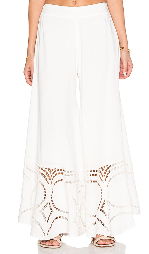 Vix Swimwear Peggy Embroidered Pant in Solid White