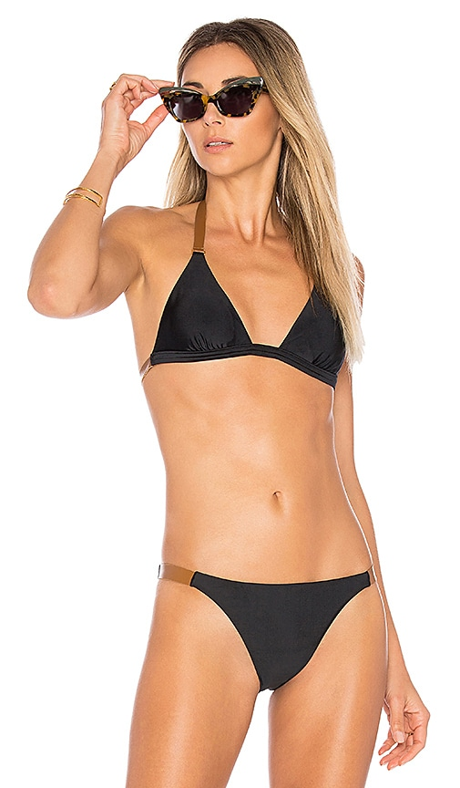 Vix Swimwear Leather Tri Top in Black