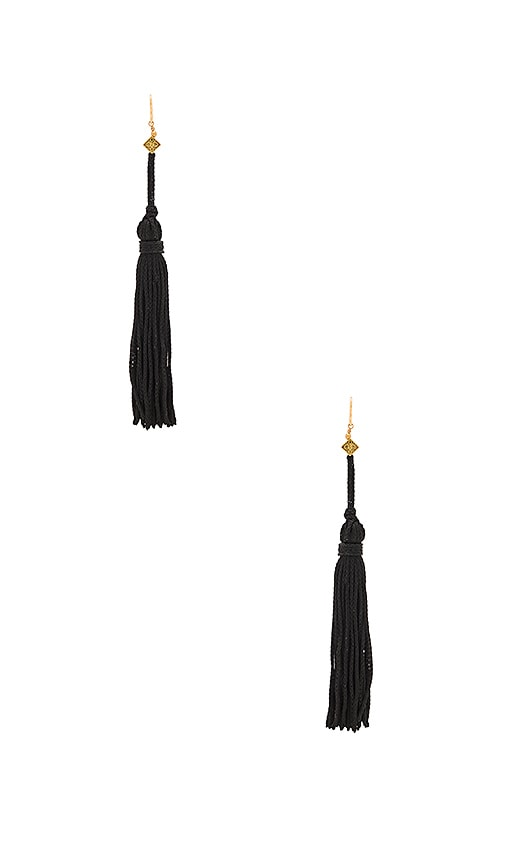 Vanessa Mooney The Lovell Tassel Earring in Black