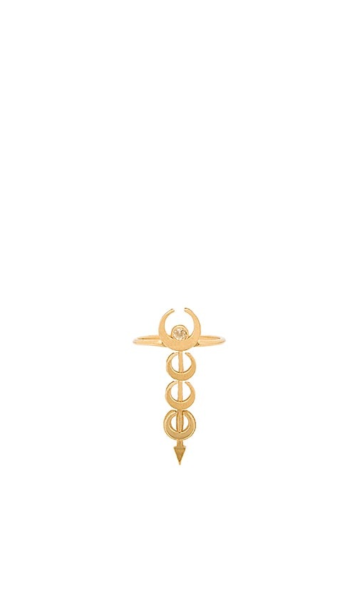 Vanessa Mooney The Sadi Crescent Stacked Moon Ring in Metallic Gold