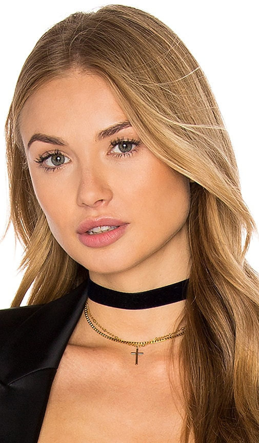 Vanessa Mooney Chain & Cross Choker in Metallic Gold