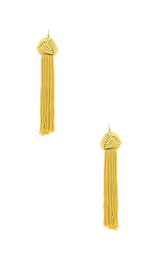 Vanessa Mooney Astrid Knotted Tassel Earrings in Yellow