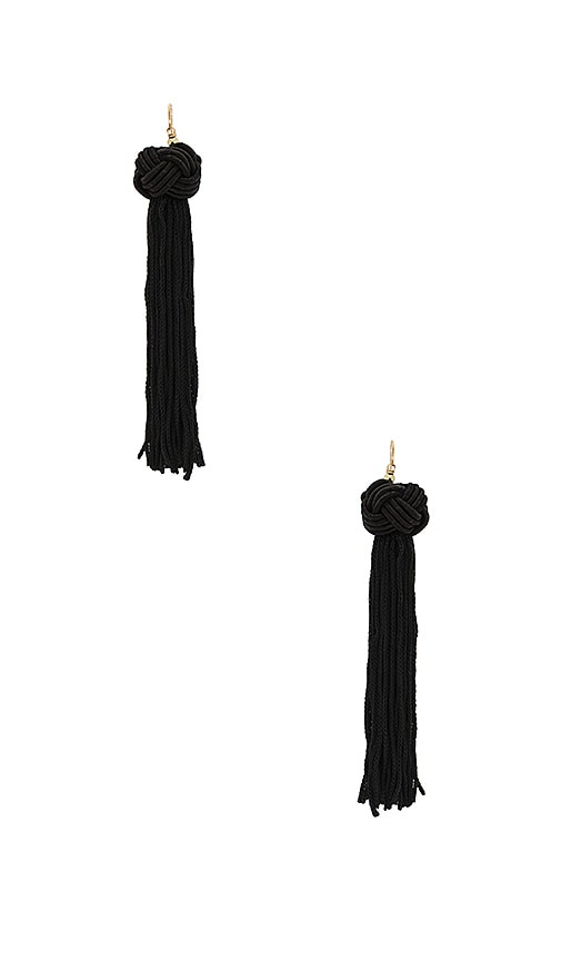 Vanessa Mooney Astrid Knotted Tassel Earring in Black