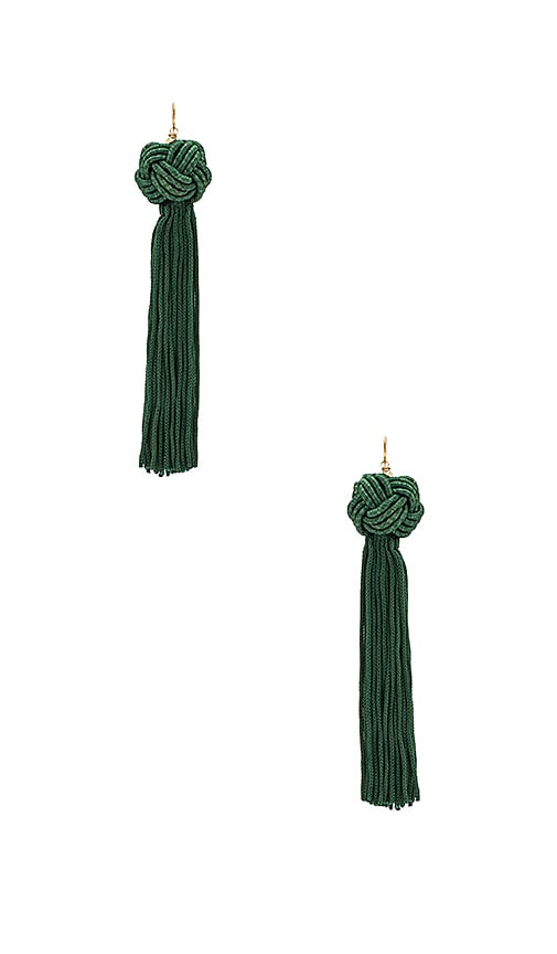 Vanessa Mooney Astrid Knotted Tassel Earring in Green