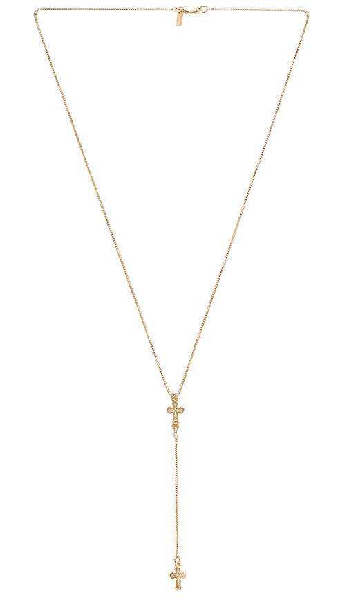 Vanessa Mooney Stella Cross Rosary Necklace in Metallic Gold