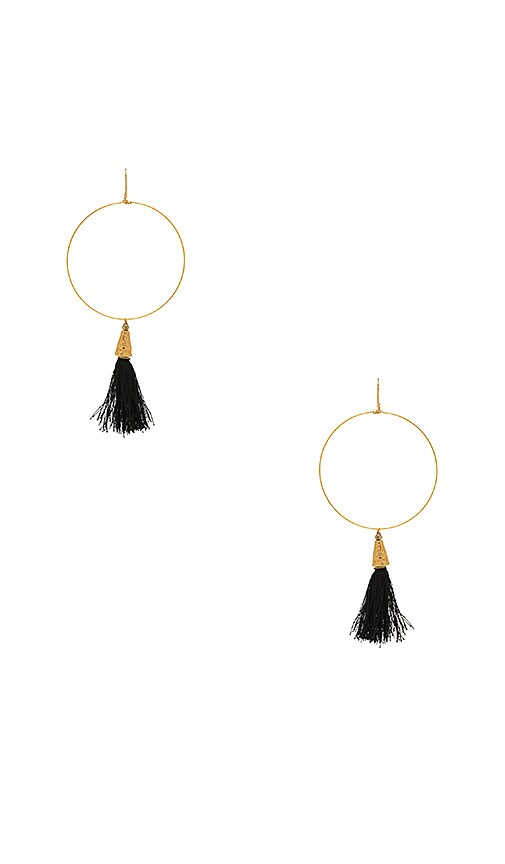 Vanessa Mooney Summer of Love Tassel Hoop Earrings in Metallic Gold