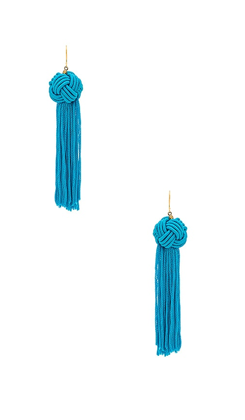 Vanessa Mooney The Astrid Knotted Tassel Earring in Turquoise