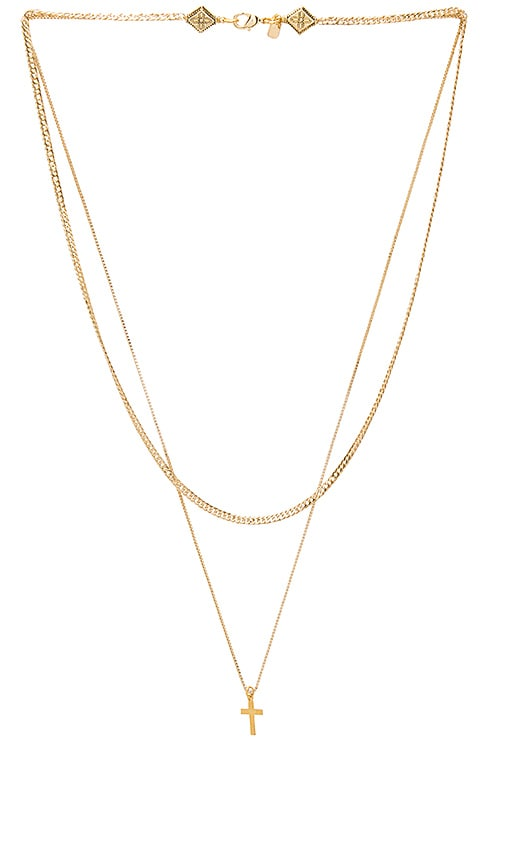 Vanessa Mooney Simple Layered Chain Cross Necklace in Metallic Gold
