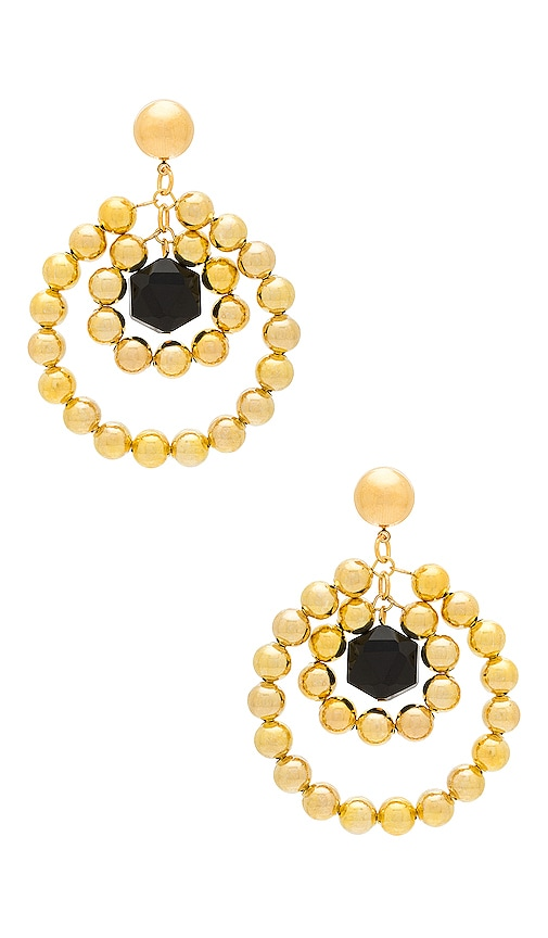 Vanessa Mooney Double Hoop Bead Earring in Gold