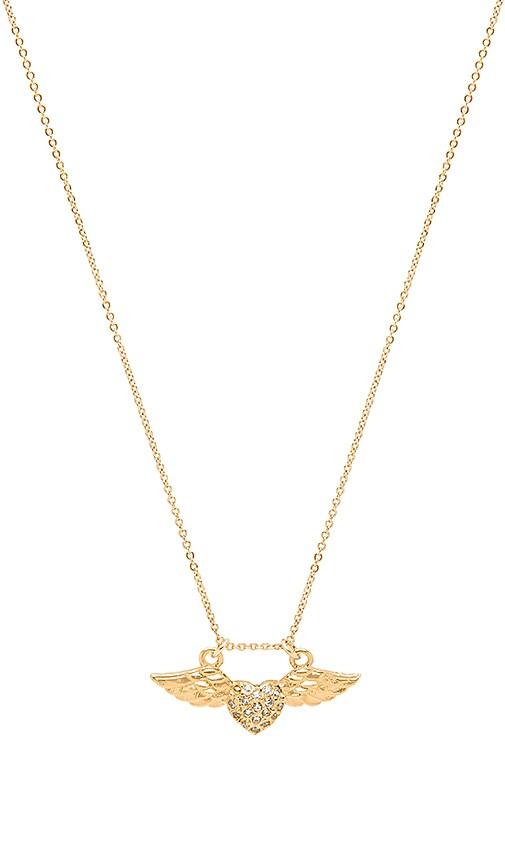 Vanessa Mooney Amante Winged Heart Necklace in Metallic Gold