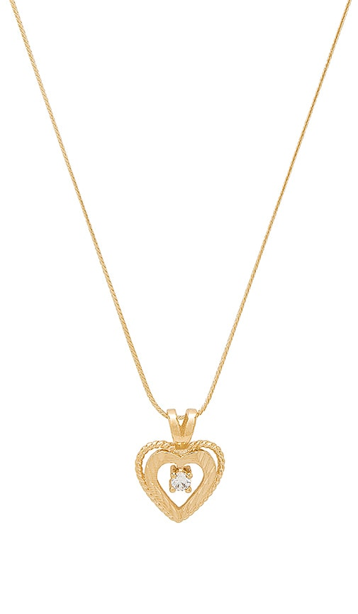 Vanessa Mooney The Gold Nora Heart & Crystal Charm Necklace in Metallic Gold