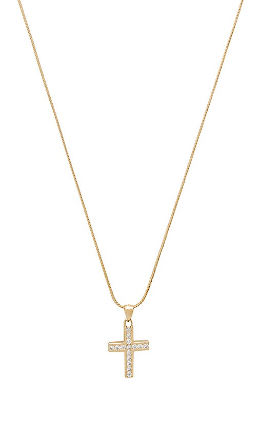 Vanessa Mooney The Marcella Gold & Crystal Cross Charm Necklace in Metallic Gold