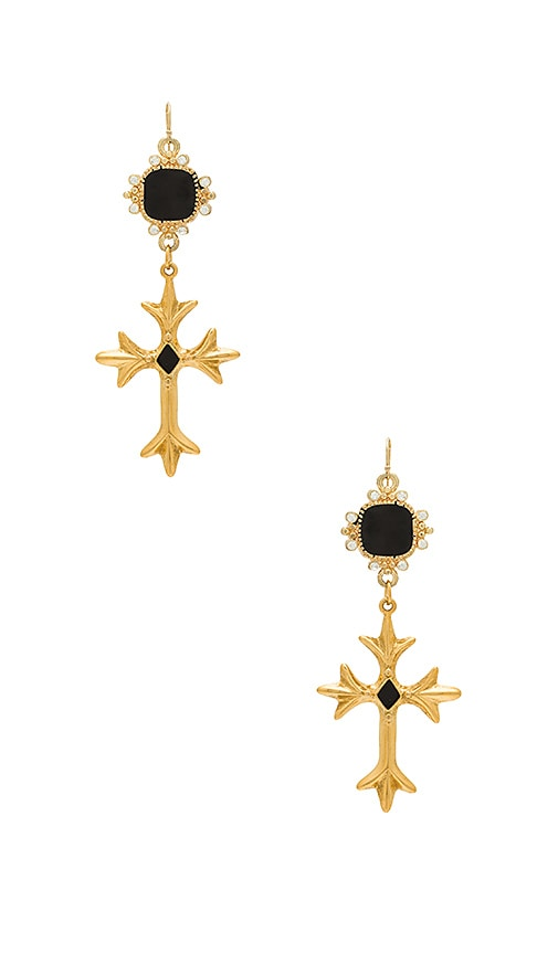 Vanessa Mooney The Saint Andrea Cross Earrings in Metallic Gold