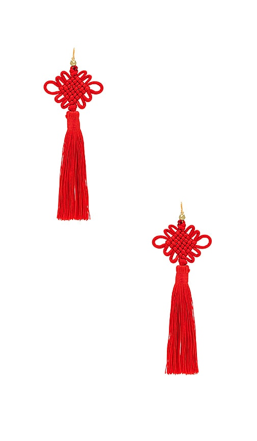 Vanessa Mooney The Chinese Good Luck Tassel Earrings in Red