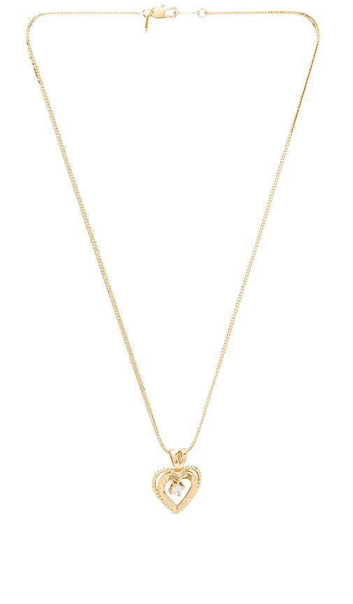 Vanessa Mooney Nora Heart & Crystal Charm Necklace in Metallic Gold