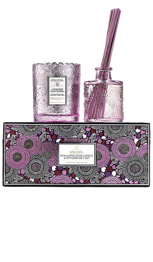 Japanese Plum Bloom Scalloped Candle & Diffuser Gift Set