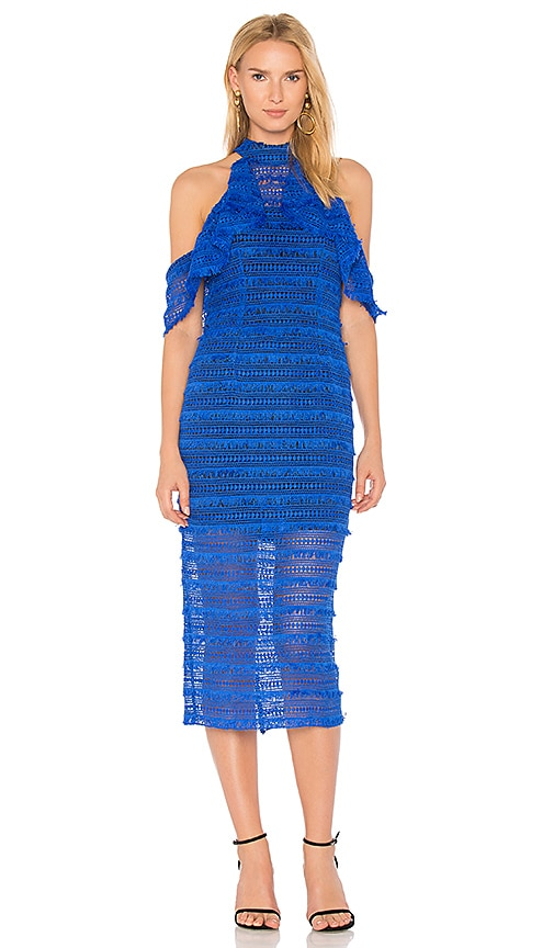 VONE Cold Shoulder Lace Dress in Blue