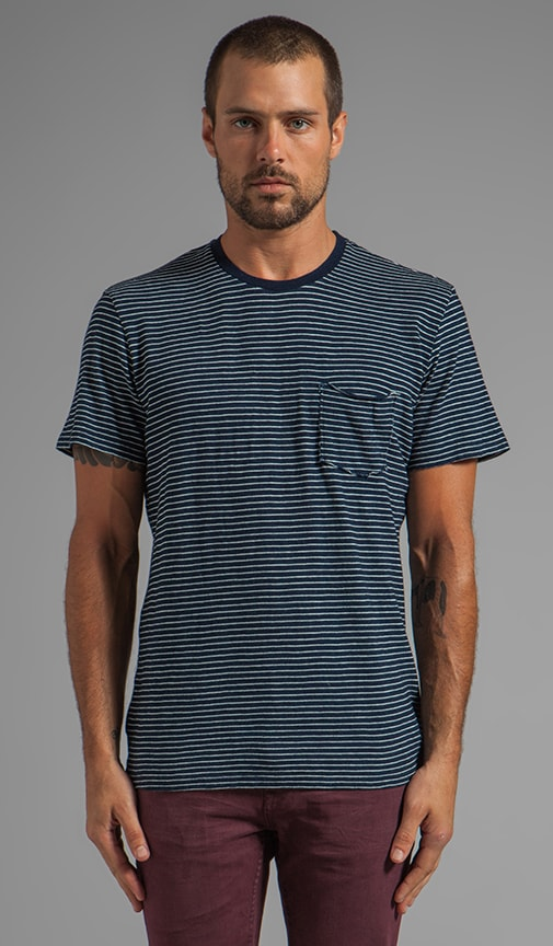 Zacharia Indigo Stripe S/S Pocket Tee