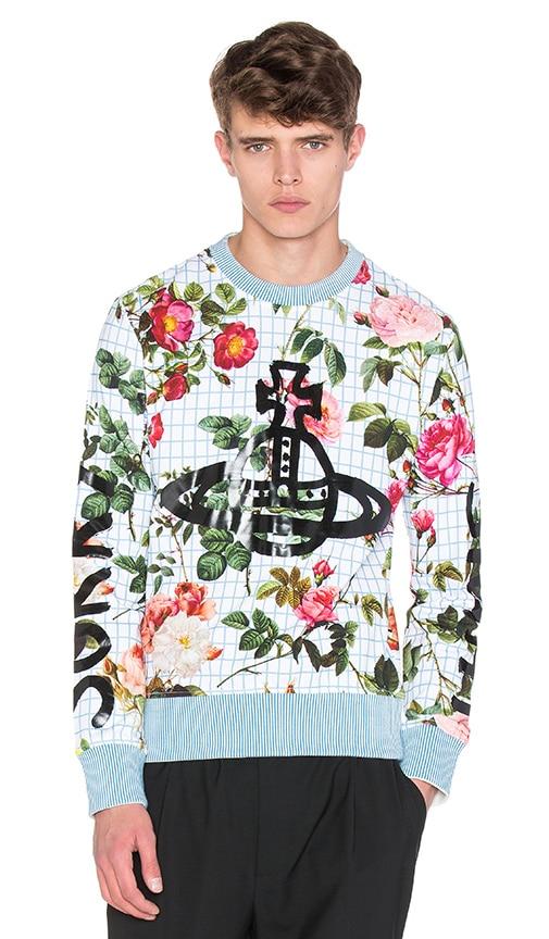 Vivienne Westwood Man Roses Sorry Sight Floral Sweatshirt in White