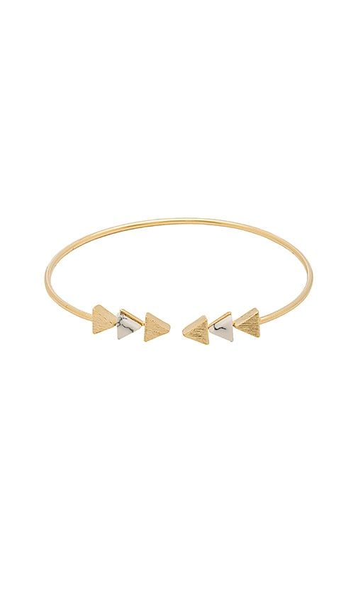 Wanderlust + Co Multi Tri Cuff in Metallic Gold