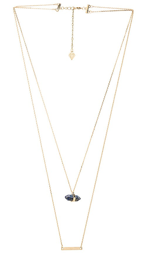 Wanderlust + Co Celeste Bar Necklace in Metallic Gold