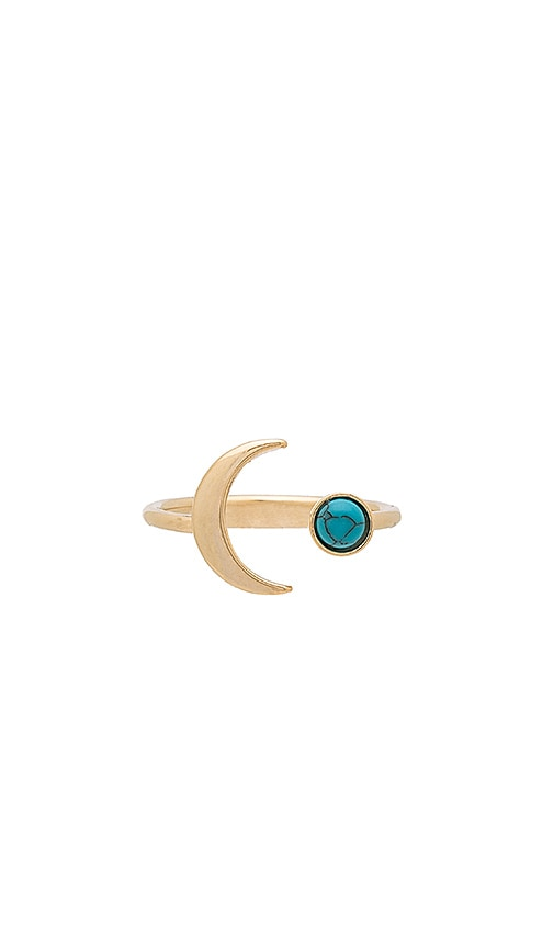 Wanderlust + Co Crescent Gem Ring in Metallic Gold